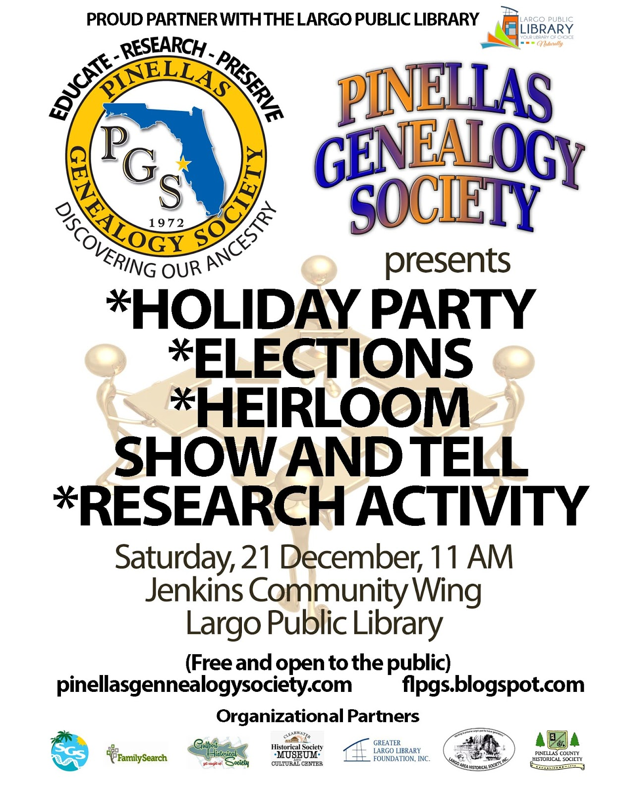 Pinellas Genealogy Society: Upcoming Events