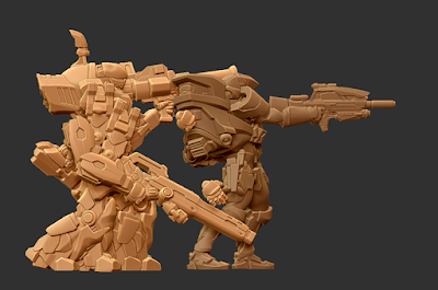 Cutter multi-arm pose in scale with Sokar STL example file.