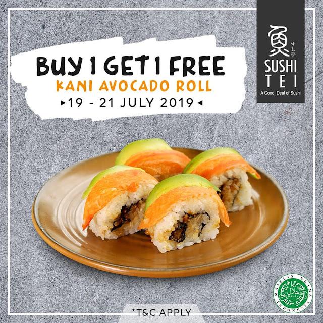 #SushiTEI - #Promo Buy 1 Get 1 Free KANI AVOCADO ROLL (s.d 21 Juli 2019)
