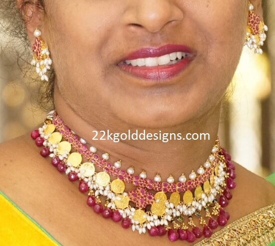 Ruby Gold Coins Necklace with Pearls