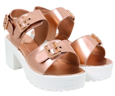 Yours Clothing Wide Fit rose gold and white cleated sole sandals