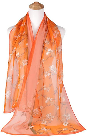 Orange Soft Chiffon Scarves Shawls Wraps With Beautiful Patterns