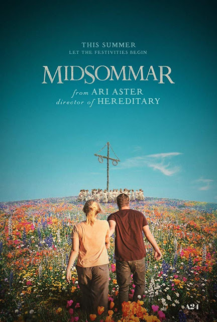 Movie poster for A24's 2019 film Midsommar, starring Florence Pugh, Jack Reynor, Vilhelm Blomgren, Will Poulter, and William Jackson Harper