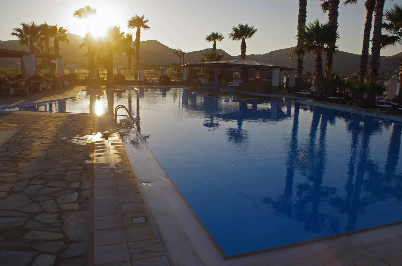 Astir of Paros Swimming Pool at sunset