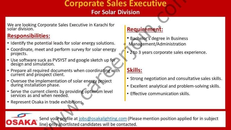 jobs@osakalighting.com - Osaka Lighting Jobs 2021 in Pakistan