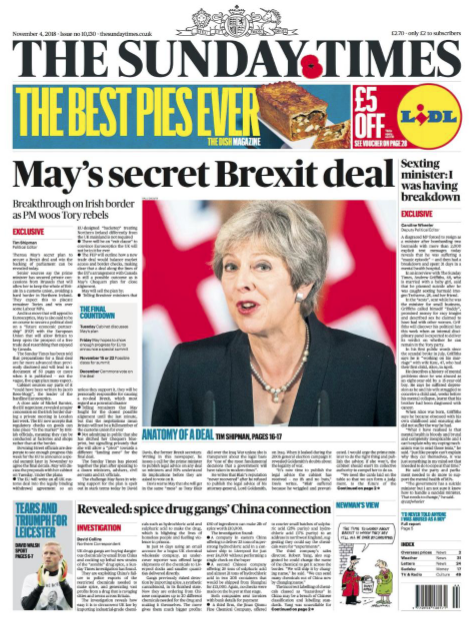 the whole of Britain in a customs union, the Sunday Times reports, citing unnamed sources.