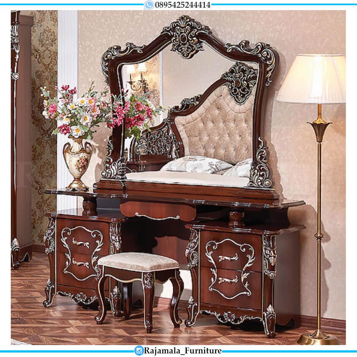 Meja Rias Mewah Jati Natural Marquetry Combination Luxury Design RM-0581