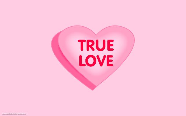 Roze liefdes hartje en de tekst true love