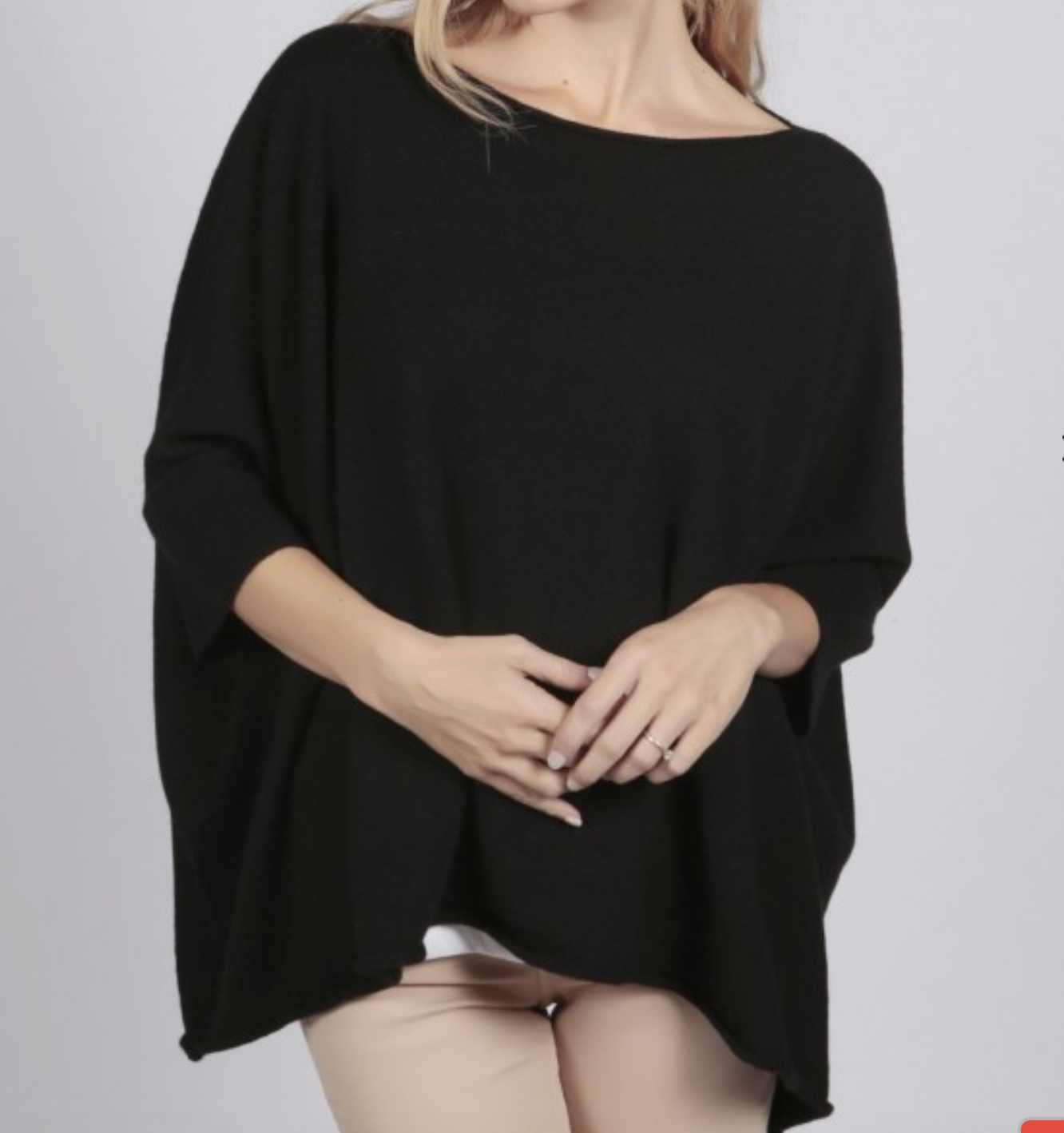 italy in cashmere black pure cashmere short sleeved oversized batwing sweater