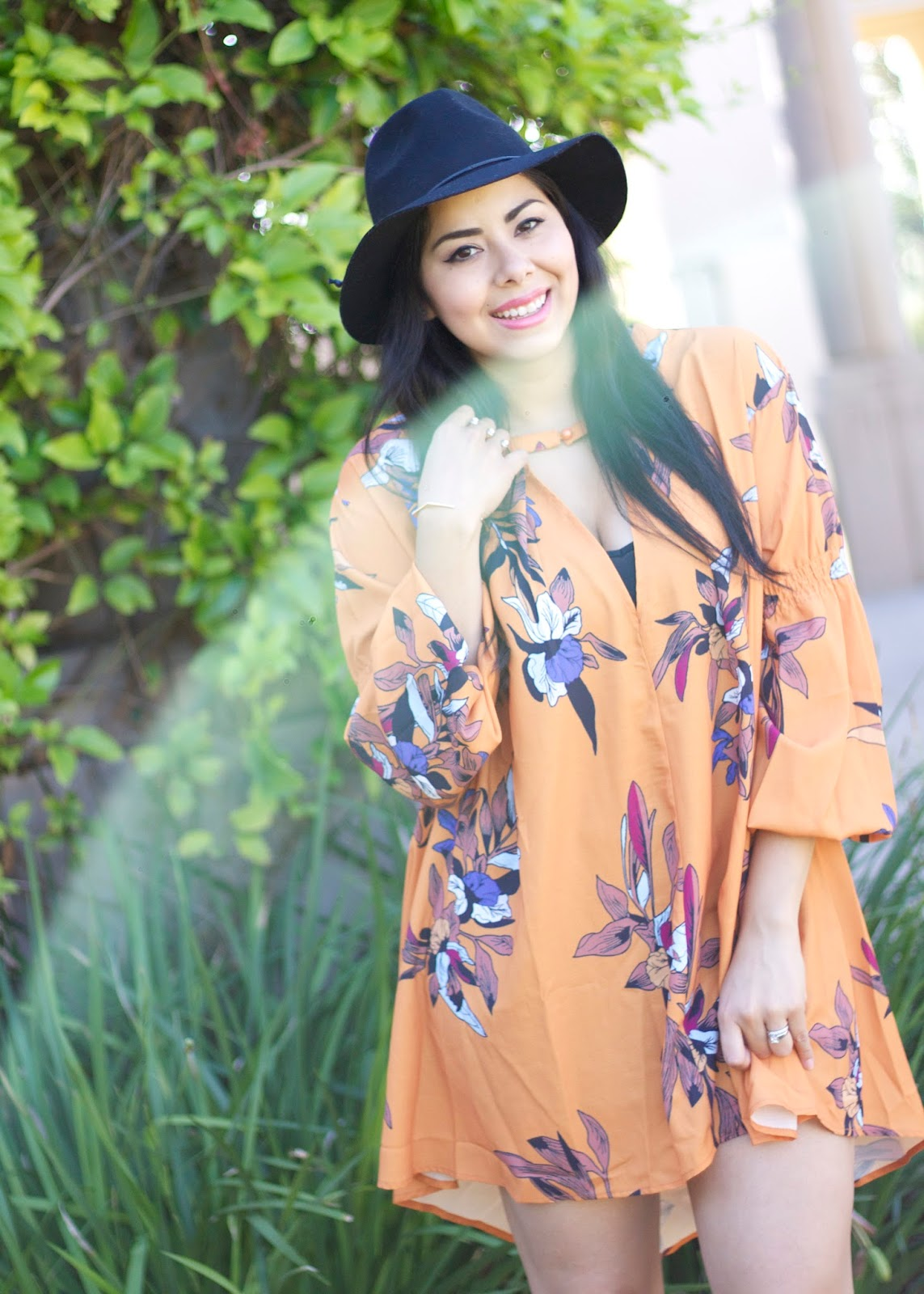 Latina Blogger, Latina Fashion Blogger, MExican Fashion Blogger, Free People Fall Dress, Fall Florals