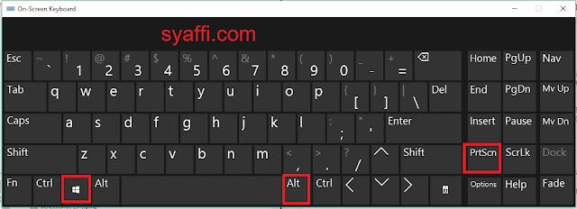 Windows+ALt+PrtSc on screen keyboard windows 10