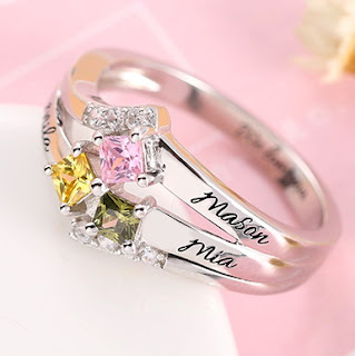 Engraved Mother's Princess-Cut Birthstone Ring Sterling Silver