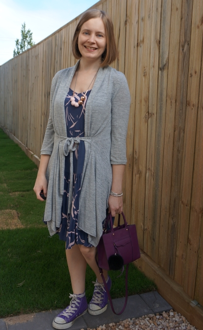 grey belted cardigan over summer tiered sundress converse purple bag mum style | away from blue