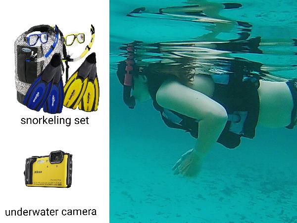 perlengkapan snorkeling berupa mask, snorkel dan kaki bebek