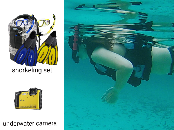 snorkeling gear mask, snorkel and swim fins as well as underwater camera