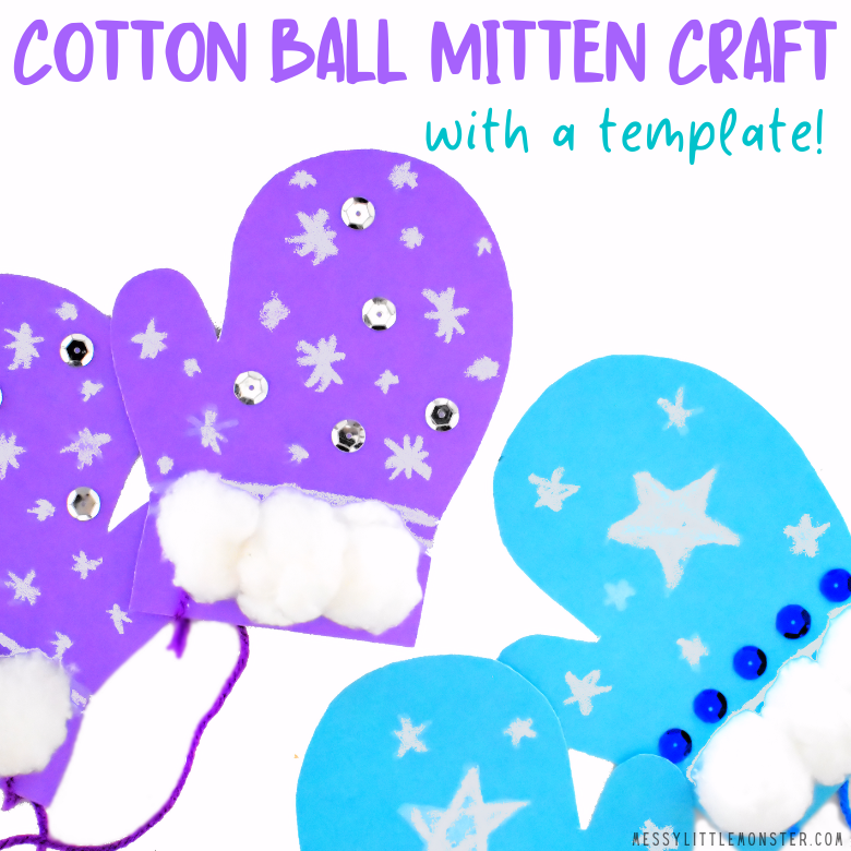Mitten template for winter craft for kids