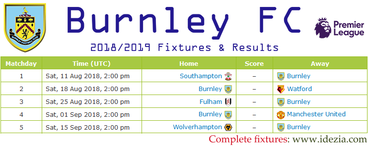 Download Full Fixtures PNG JPG Burnley 2018-2019