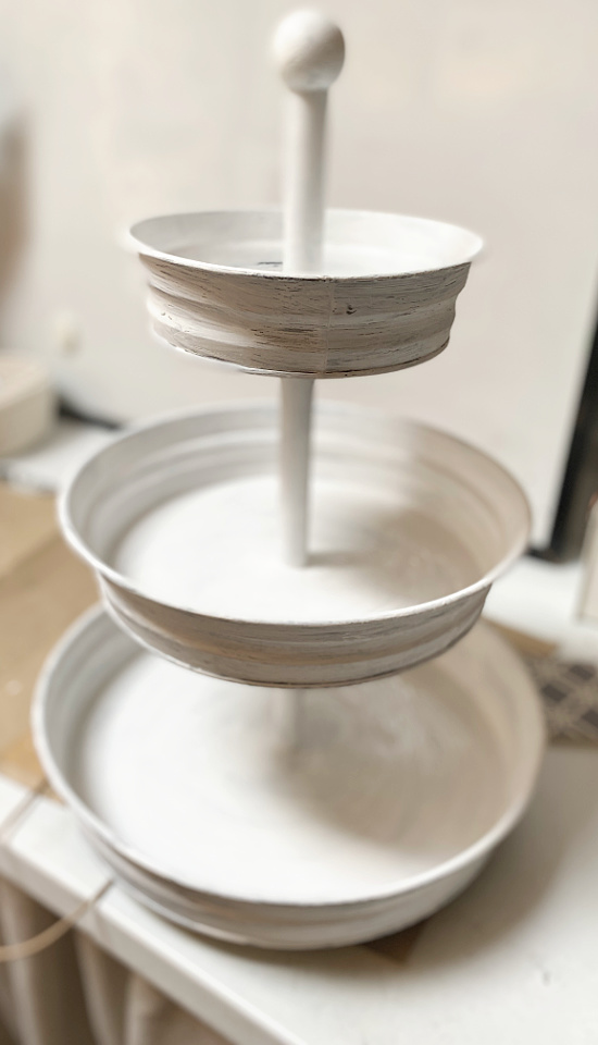 painted white tiered tray