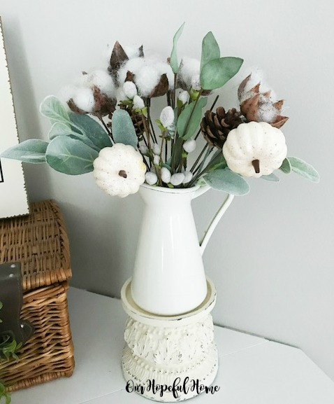 Dollar Tree cotton boll stem baby boo pumpkin lambs ear pussy willow fall bouquet decor