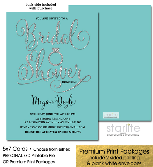 http://starliteprintables.indiemade.com/product/turquoise-silver-glitter-bridal-shower-invitation-engagement-ring