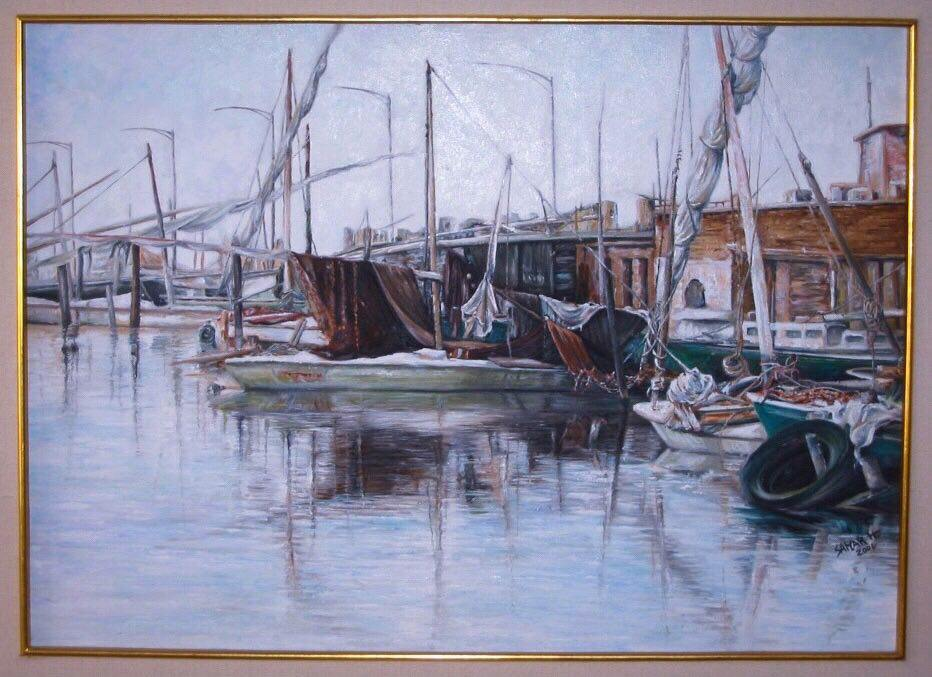 لوحة فنية - مراكب البرلس - سمر حسنين