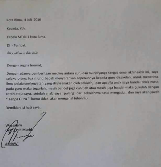 Surat Khusus Buat Para Guru Dari Orangtua Isinya Sungguh