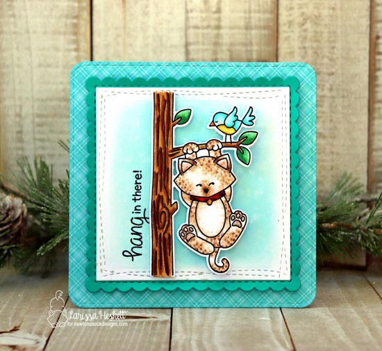 Hang in there Card by Larissa Heskett | Newton Hangs Out Stamp Set and Frames Square Die Set by Newton's Nook Designs #newtonsnook #handmade