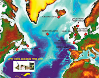 Vibrio sampling areas in the North Atlantic. Each red rectangle indicates where samples were collected over the period 1958-2011. The inset image shows the CPR instrument. [Credit: Vezzulli et al. (2016)] Click to Enlarge.