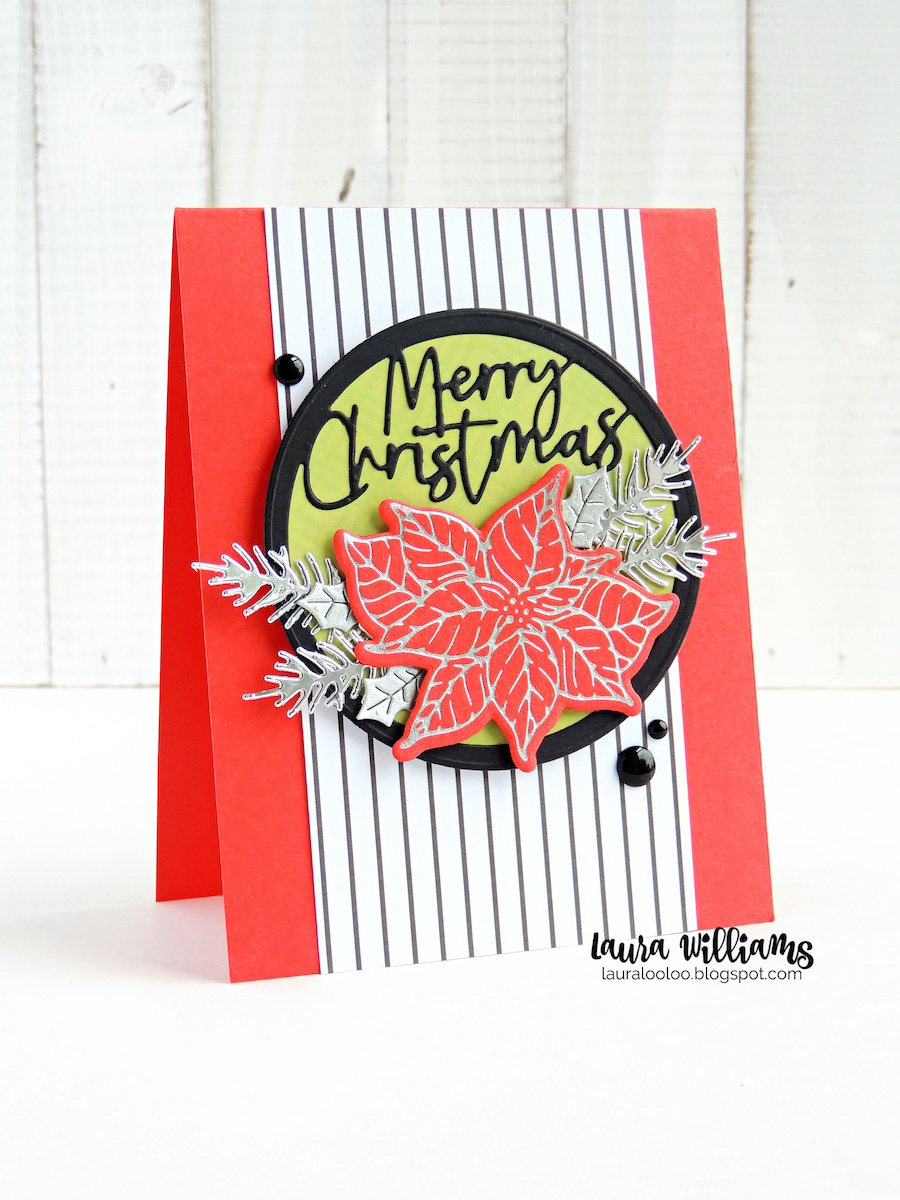 Merry Christmas card with red cardstock, a red and silver poinsettia, and silver pine branches, all from Spellbinders Paper Arts.