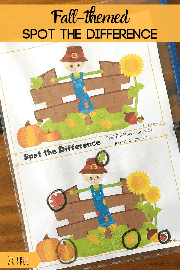 FREE printable Find the Difference pictures with a Fall theme including scarecrows and owls. Great for visual discrimination practice for young kids to enhance literacy and math skills. Fun fall activity that kids will love!