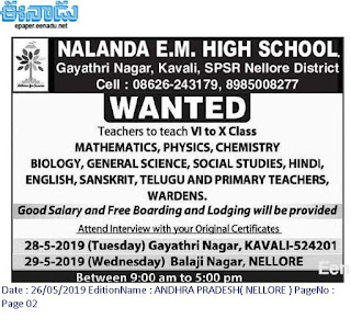 Teachers Jobs in Nalanda E.M. High School 2019 Recruitment Walk- In interview, Nellore