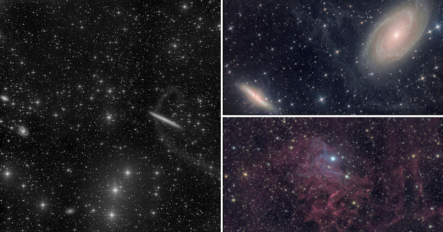 NGC 5907 - The Knife Edge or Splinter Galaxy (left) imaged on ATEO-1, M81 and M82 - Bode's and Cigar Galaxies (upper right) imaged on ATEO-1, and IC 405 - The Flaming Star Nebula (lower right) imaged on ATEO-2A.