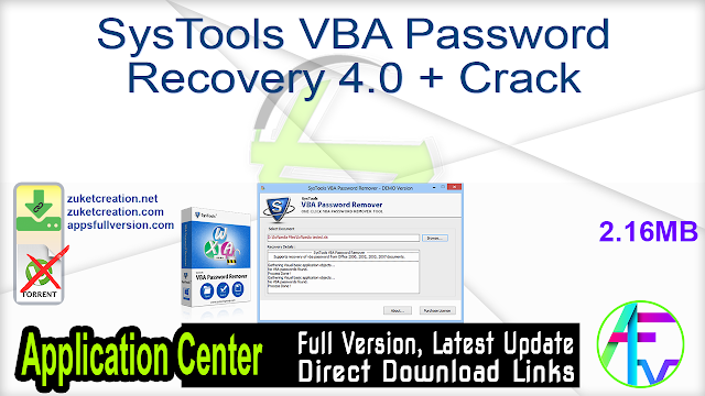 SysTools VBA Password Recovery 4.0 + Crack