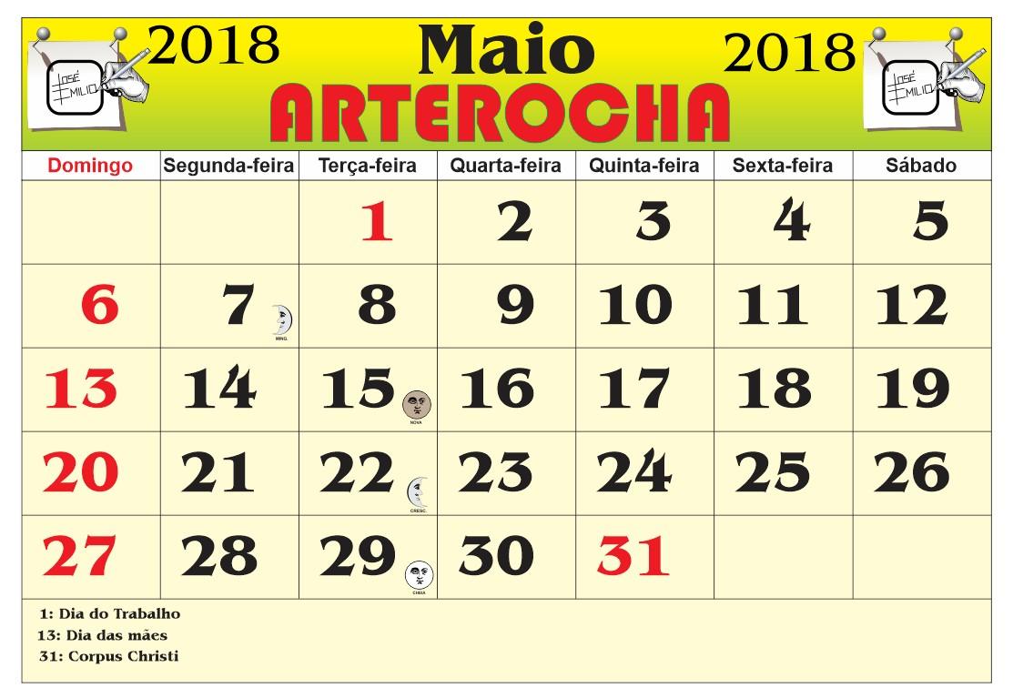 calendrio mes de maio 2018