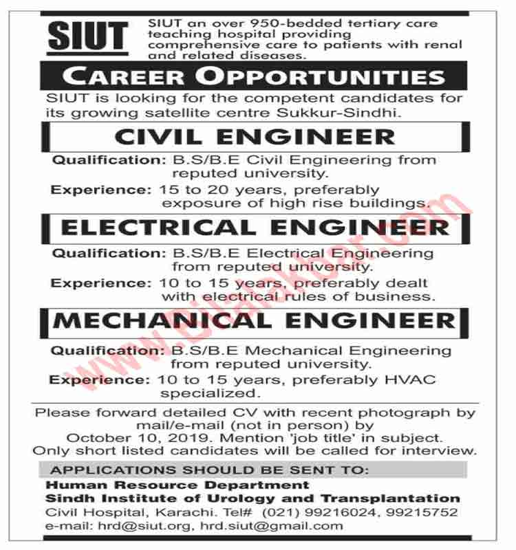 Career Opportunity for Civil, Electrical and Mechanical Engineer