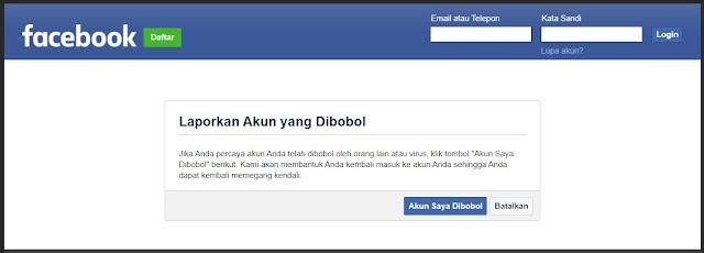 laporkan akun facebook yang dihack