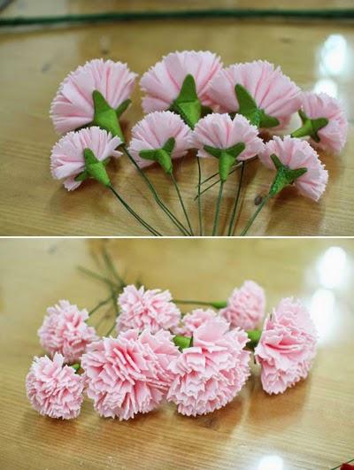 Decoraciones Papel Crepe ~ Haz arreglos florales con claveles de tela ~ Solountip com