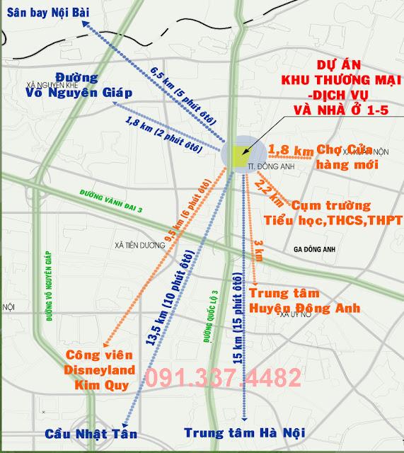 Vị trí dự án Happy Land Liền kề shophouse 1/5 Đông Anh