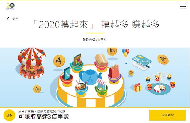 亞洲萬里通Asia Miles 2020Q1活動 「2020轉起來」 轉越多 賺越多