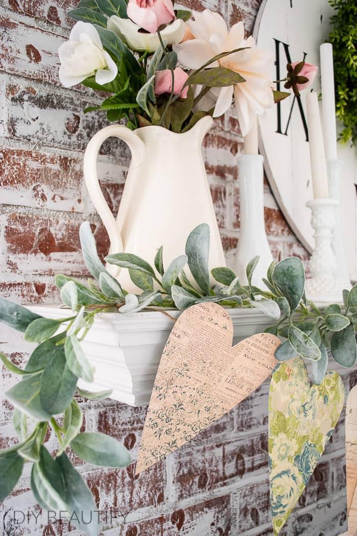 hanging garland on mantel