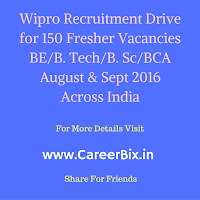 Wipro Recruitment drive for 150 Fresher vacancies BE/B. Tech/B. Sc/BCA August & Sept 2016 Across India