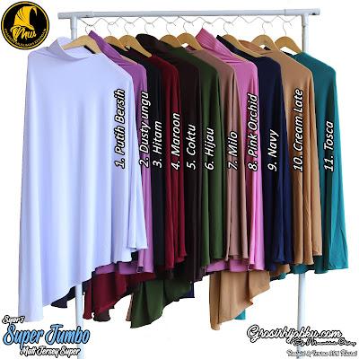 Jilbab syar'i terbaru warna polos ukuran super jumbo bahan jersey