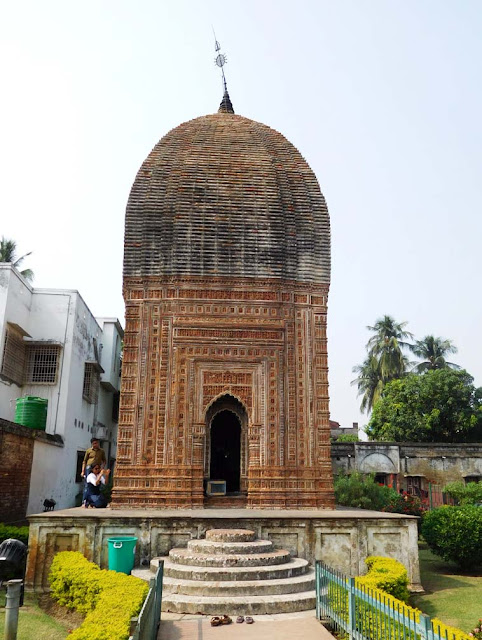 The Pratapeshwar Temple dedicated to Lord Shiva is built in the Rekha deul style, Kalna Rajbari Temple complex, West Bengal