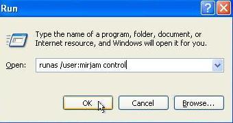 Windows XP, boîte de dialogue Exécuter. Pour ouvrir le Panneau de configuration avec les droits administratifs, tapez 'runas / user: control name name'. Ensuite, cliquez sur OK.