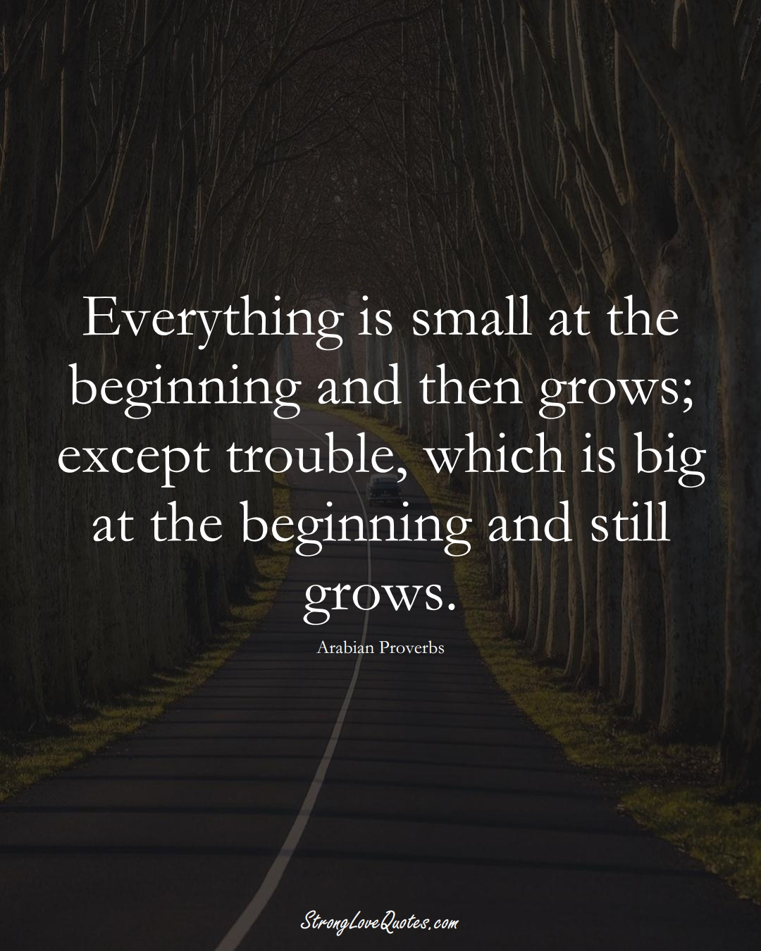 Everything is small at the beginning and then grows; except trouble, which is big at the beginning and still grows. (Arabian Sayings);  #aVarietyofCulturesSayings