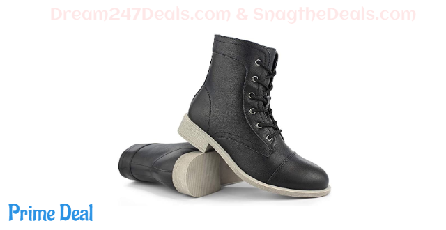 50% OFF Hawkwell Women's Mid Calf Low Heel Lace Up Shoes Combat Boot