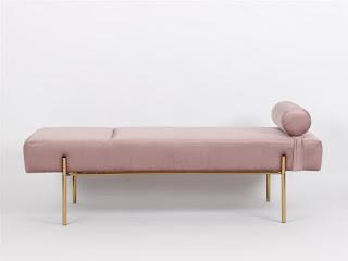 Divan cama actual tapizado rosa palido