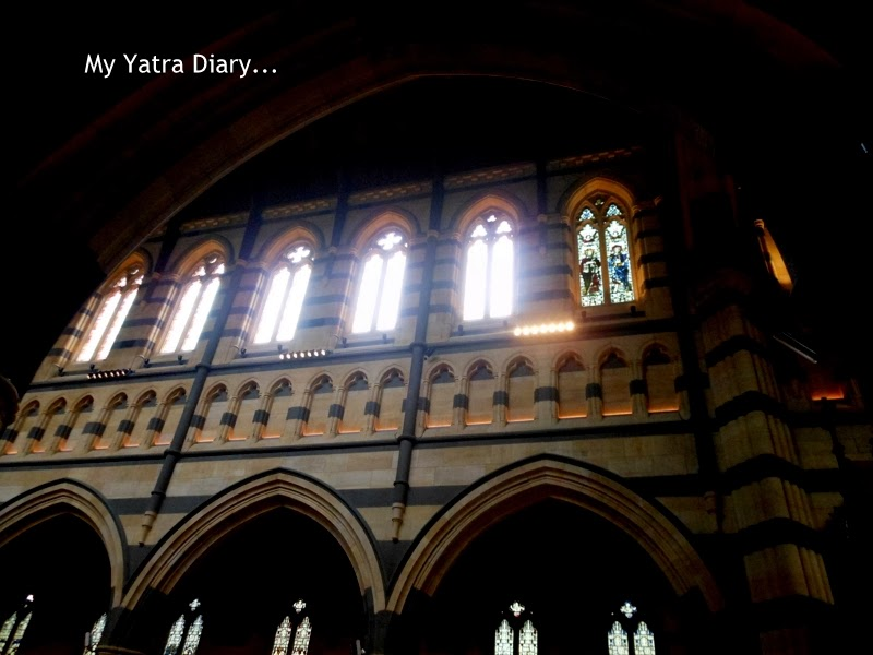 The windows of St. Paul's church cathedral in Melbourne, Australia