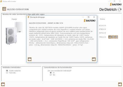 Descripción del equipo en el complemento Saltoki