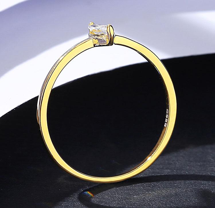 簡約單鑽欖尖鋯石 925純銀戒指